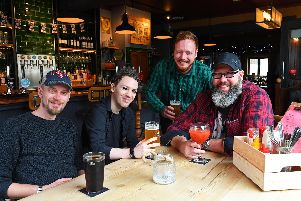 ''Well deserved awards for The  King Street Tavern in Portsmouth - (left to right) Dan Gates, Mike Bailey, Olly Willers, and Sean Marshall ''Picture: Malcolm Wells (301019-9162) ''Byline: Malcolm Wells'Credit: The News, Portsmouth'Source: The News, Portsmouth