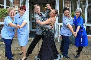 Rowan Does Strictly (l-r)Jayne Trace, Stacey Easterwood, Professional dance teachers David from Keal School of Dancing and Beverly from Scarlett Rose School of Dancing, Meri Sabadera and Mary Barker.