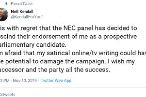 Neil Kendall announced on Twitter that he had been deselected to stand in Havant for the Labour Party