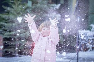 Cassidy Kinneavy 4 playing in fake snow. Picture: Habibur Rahman