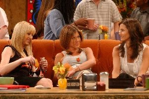 Phoebe, Rachel and Monica on the sofa in Central Perk cafe. Picture: Supplied