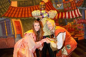 Pictured is, from left, Lucy Kane as Princess Jasmine, Ben Ofoedu as the Genie and Dan Slade as Aladdin. Picture: Sarah Standing (120819-3101)