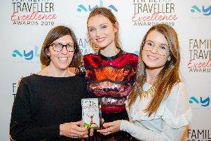 Peak retreats general manager Alison Willis (left) and Hannah Jones (right) with Sophie Ellis-Bextor at the Family Traveller Excellece awards.