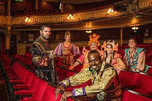The stars of The Kings Theatre's 2019 panto, Aladdin. Left-right: Shane Lynch, Dany Acors, Jack Edwards, Ben Ofoedu, Lucy Kane and Mike Goble