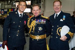 Bear Grylls, left, with chief of general staff, Sir Mark Carleton-Smith and Commander Earl of Derby.'Picture: Habibur Rahman
