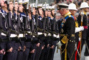The Prince of Wales inspecting the Guard of honour. ''Picture: Habibur Rahman