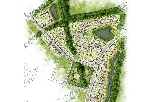 Outline illustration of Taylor Wimpey's proposed Woodlands Chase development in Whiteley.