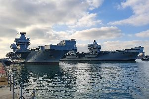 HMS Queen Elizabeth as she passed HMS Prince of Wales 'Picture: Habibur Rahman