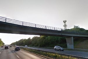 The closed footbridge spanning the M27, connecting Funtley Road to Farerham.