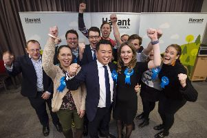 Conservative candidate Alan Mak celebrates holding his seat in Havant, with an increased majority. Picture: Peter Langdown