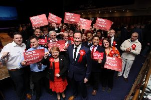 Portsmouth South MP Stephen Morgan having been returned in the general election. Pictured at the count in Portsmouth Guildhall. Picture: Habibur Rahman