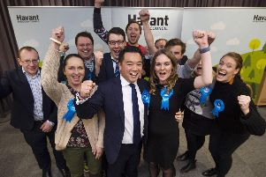 Conservative candidate Alan Mak celebrating winning the election. Picture: Peter Langdown