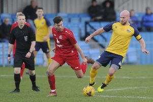 Gosport Borough's Mike Carter in action during the 1-0 win over Harrow Borough at Privett Park. Picture: Ian Hargreaves