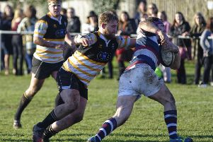 Ryan Wilkie, left, in action during his time at Portsmouth RFC. Picture: Neil Marshall