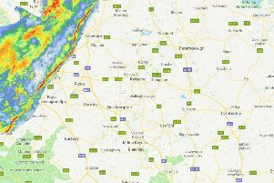 You've heard of the thin blue line, well this is the thin red line - otherwise known as a squall - and it is bringing intense rain and wind