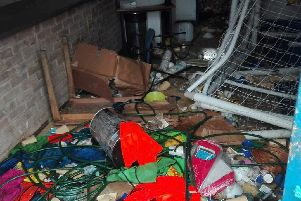 The mess left behind at the Southam United Football Club clubhouse.