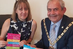 Fiona Palmer of Coventry and Warwickshire Mind with Cllr Tom Mahoney.