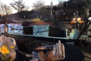 The barge after the blaze. Photo: Warwickshire Fire and Rescue Service