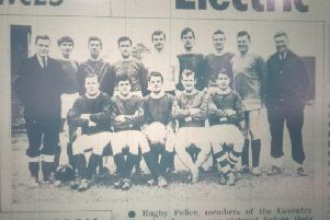 Rugby Police football team featured in the Advertiser in February 1969