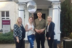 Zoey Henchliffe (second left) and Ieuan Lewis with Melanie Kerkeni (left) and Leigh'Amy Young from Brandon Hall Hotel and Spa.