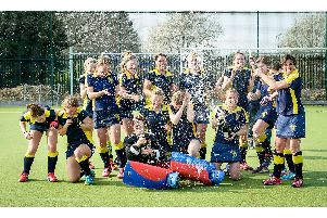 Rugby & East Warwickshire Ladies 1st XI celebrate their fourth promotion after Saturday's final game of the season   Pictures by Mike Baker