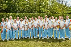 Rugby Bowling Club in their full colour attire before their game against Lillington last Saturday
