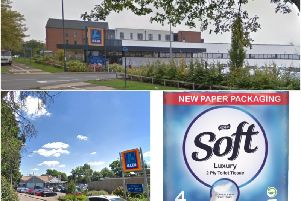 Top shows Leamington's Aldi store and bottom left shows Rugby's store inPaddox Close (both photos from Google Street View) with a photo of some of the new packaging.