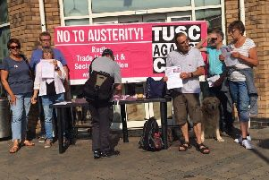 Members of Rugby TUSC organised the stall in the town centre on August 1.