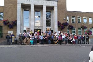 Around 70 people gathered outside Rugby's town hall to protest the PM's act. Photo credit: Audrey Rooney-Ellis.
