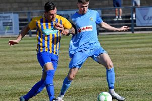 New signing Dylan Parker in Rugby Town's 6-1 win over Wellingborough last week  PICTURE BY MARTIN PULLEY