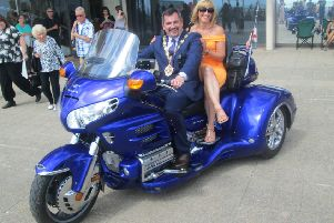 Bexhill mayor Simon Elford had a go on a Honda Goldwing trike with his wife Tanya at Bexhill Motofest 2016. Photo by Howard Martin SUS-160817-154626001