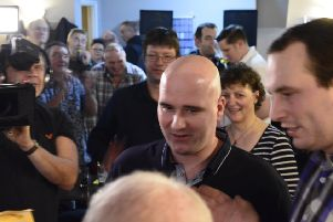 Rob Cross at a packed Sidley Working Men's Club on Tuesday night. Picture courtesy Liz Kelly
