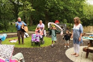 Fun and games with Superworm in the Woodland Walk at the hospice