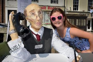 Battle Scarecorw Competition 2018'Annabel Lowe with a scarecrow made by The Crafty Norman SUS-180724-115351001