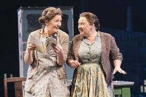 Clare Burt and Claire Machin in Flowers for Mrs Harris. Photo by Johan Persson