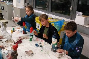The scouts during their gnome painting session