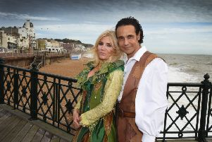Photocall for Jack and the Beanstalk with Michelle Collins and Chico at the White Rock Theatre. SUS-181210-144718001