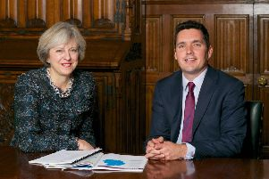MP Huw Merriman with Prime Minister Theresa May SUS-181122-103453001