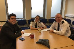 Huw Merriman with Chief Inspector Sarah Godley and Chief Superintendent Jason Taylor