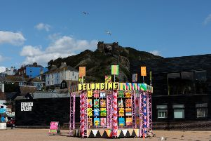 Belonging Bandstand by Morag Myerscough. Coastal Currents Arts Festival 2018, Hastings UK. Photo by Alexander Brattell.