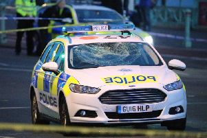 The police car involved in the collision