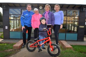 Battle Recreation Ground:''Rufus Coleman with his bike and L-R Gary Walsh (Rep for Battle Baptist Football Club and Fit for Battle), Cllr Glenna Favell, Sue Burton (Project Manager Battle Health Pathway) and runner Deborah Winchester. SUS-190801-124928001