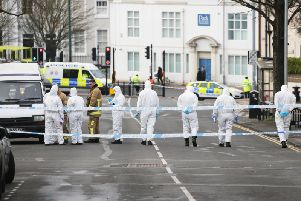 Forensics at the scene in Brighton today