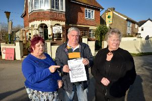 Three Oaks residents unhappy about a new sewage system. L-R Margaret Reeve, Clive Meekham and Sallie Cox