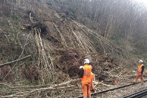 A landslip is causing major disruption on the railway line between Robertsbridge and Tunbridge Wells. Photo courtesy of Southeastern. SUS-190314-071757001