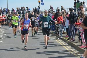 Competitors approach the finishing straight in last month's Hastings Half Marathon. Picture by Justin Lycett