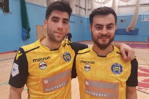 Sussex Futsal hat-trick hero Jarrod Basger (left) and Diogo Da Silva