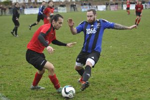 Action from Hollington United's quarter-final victory at home to Sedlescombe Rangers. Picture by Simon Newstead