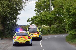 Police at the scene of the accident in Hooe. Photo by Dan Jessup