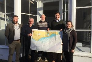 L-R: Peter Richardson (Marine Conservation Society), Tim MacPherson (director of Angling Trust), Steve Hanks (local angler), Huw Merriman MP and Alice Tebb (Marine Conservation Society).
